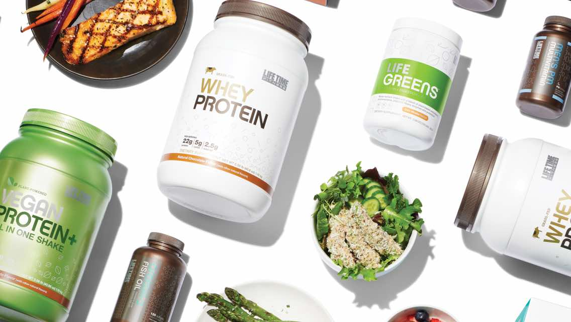 Protein tubs, supplement bottles and plates of healthy meals