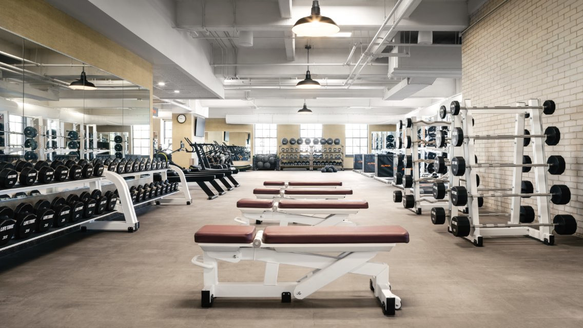 Interior of a fitness floor at Life Time.