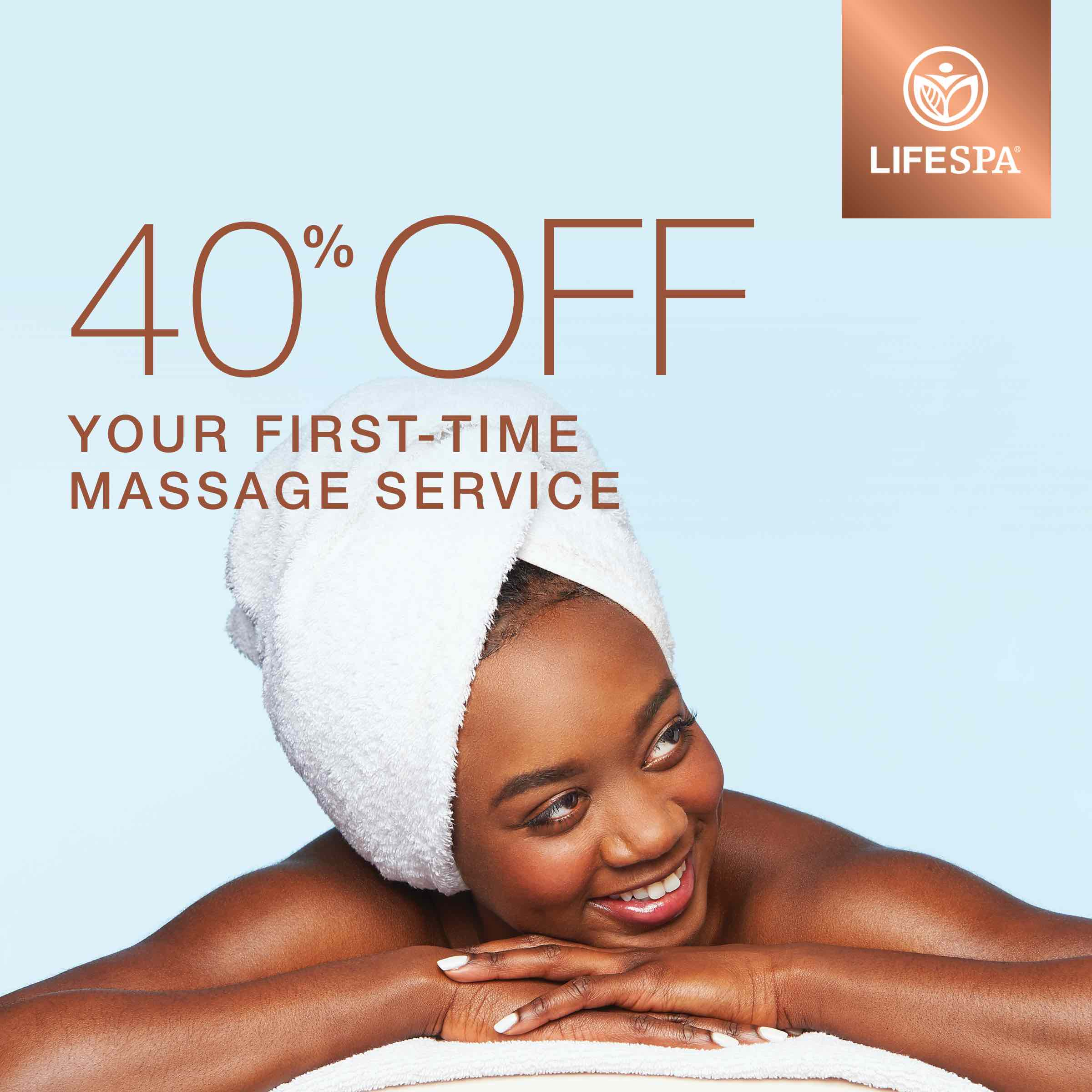 40% off your first-time massage service