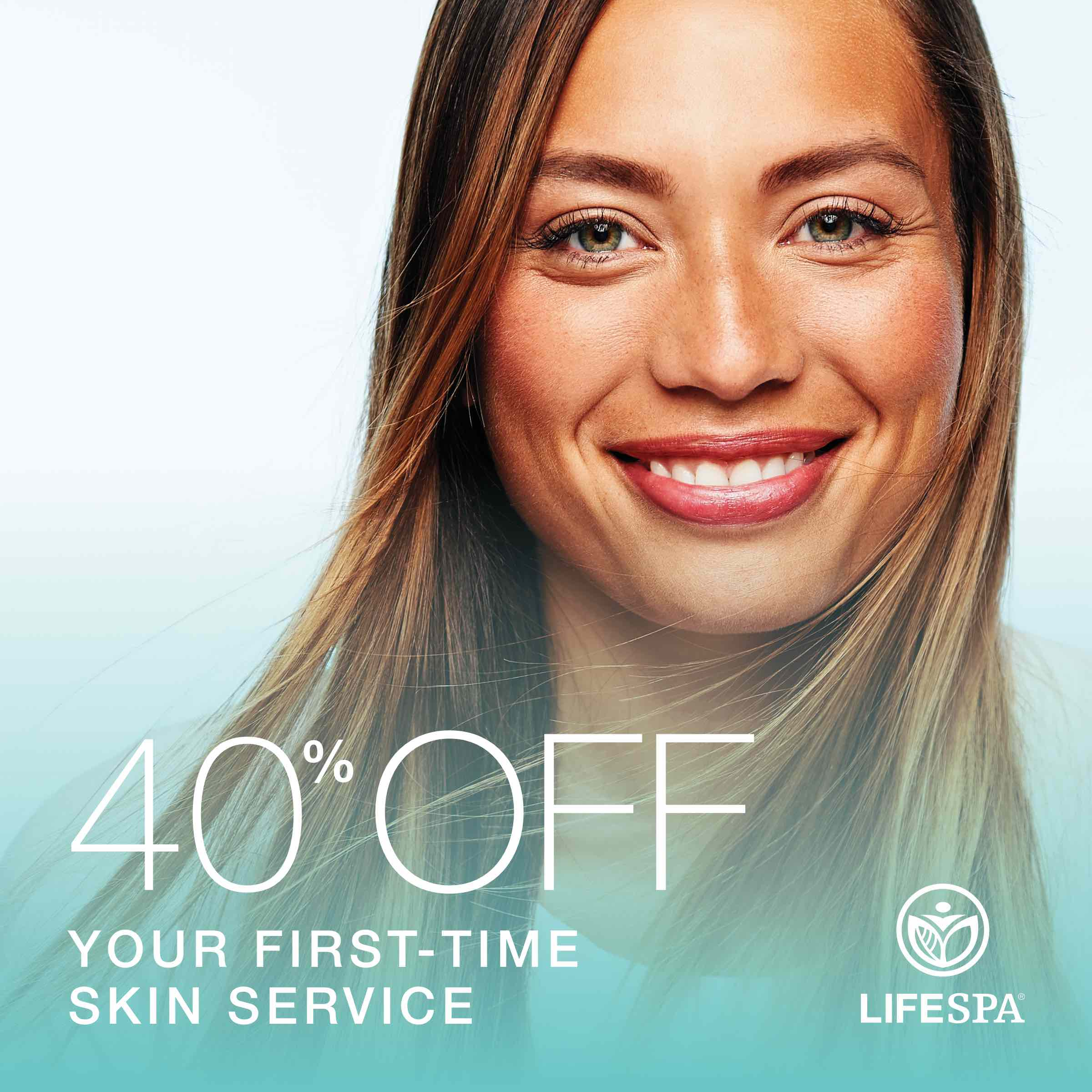 40% off your first-time skin service