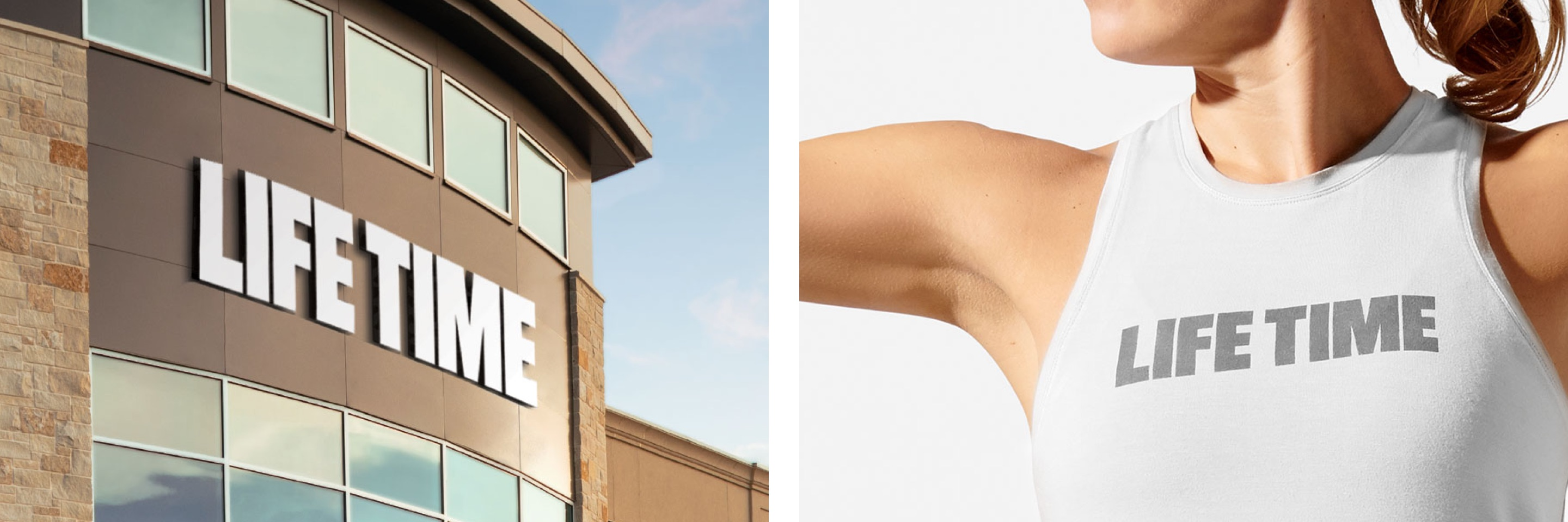 an image showcasing the Life Time logo on on a Life Time building, next to an image of a women wearing a white tank top showcasing the life time logo on the front