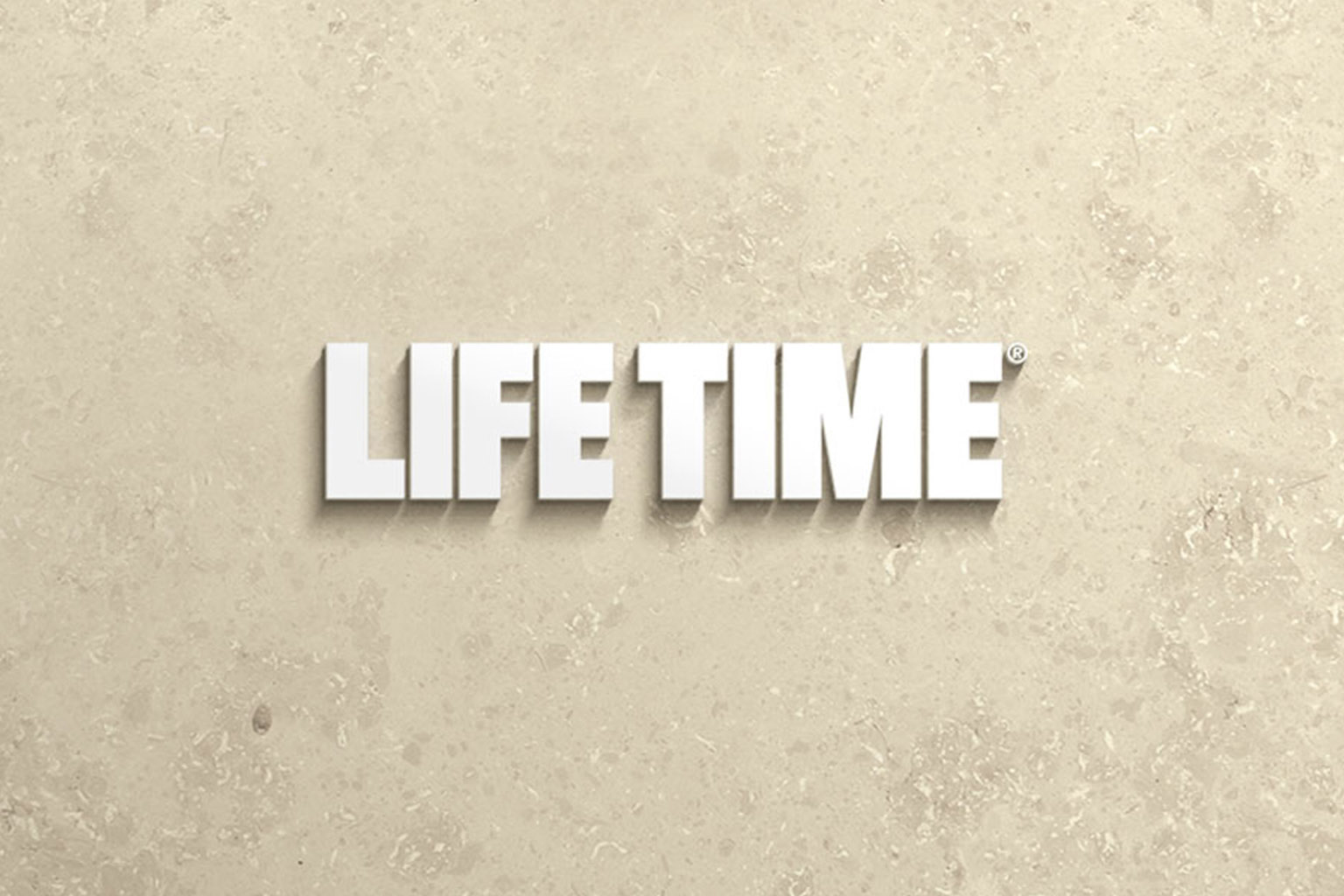 White Life Time master logo on a beige tile background