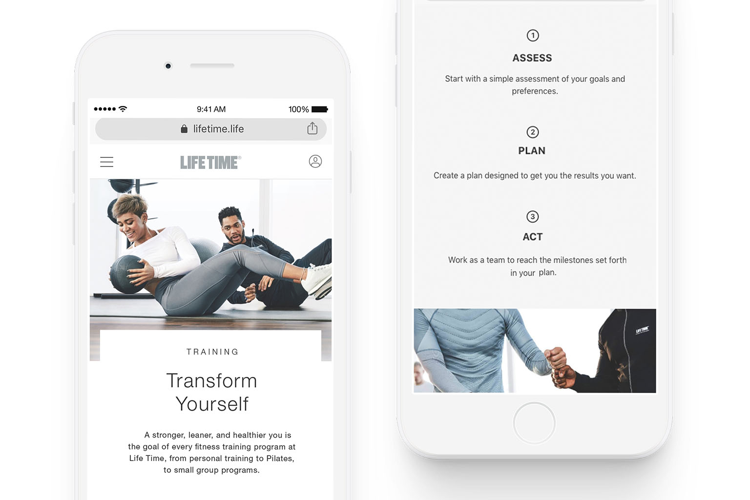 Life Time visual branding examples shown on iPhones