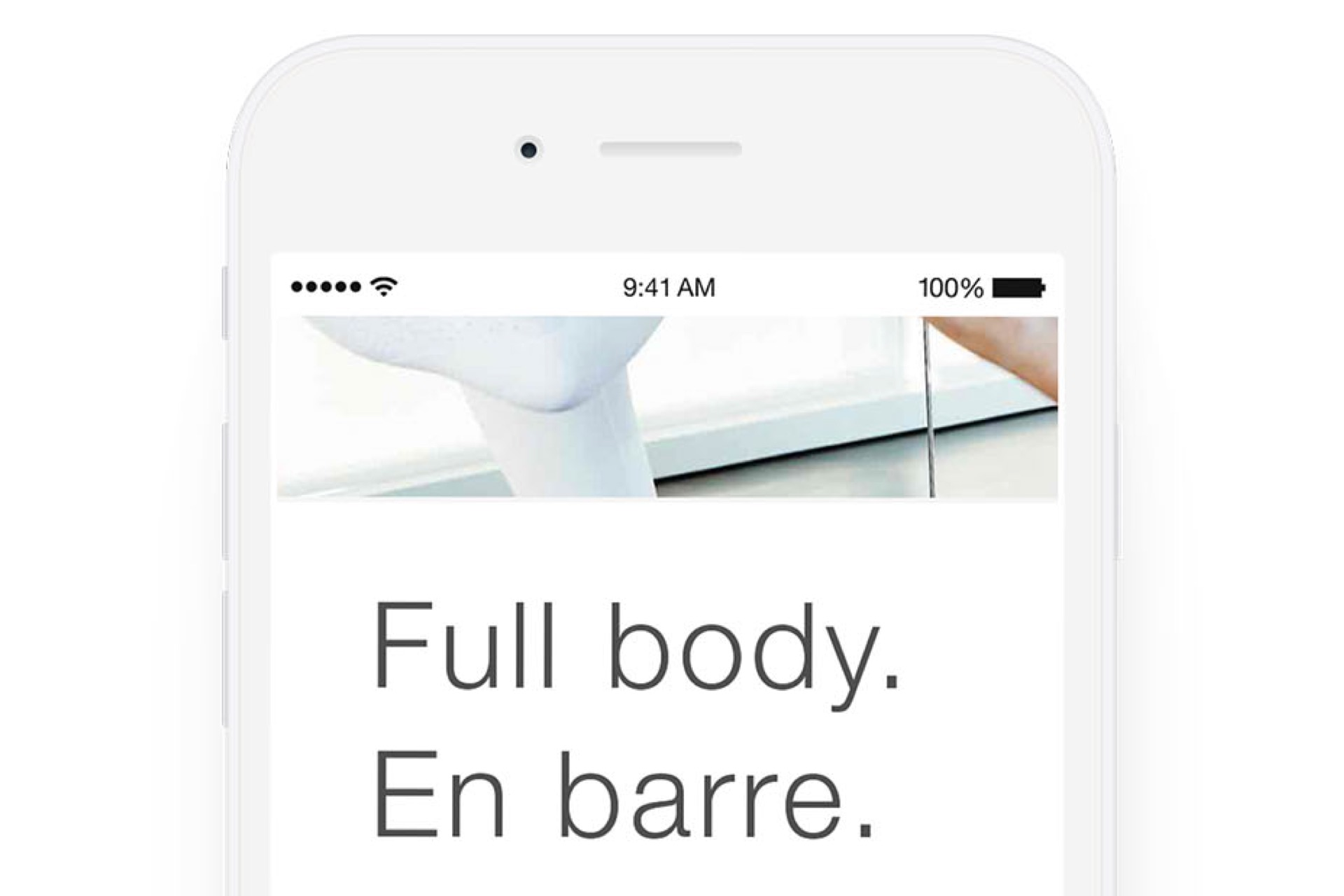 Example of type in Life Time branded content shown in an iPhone