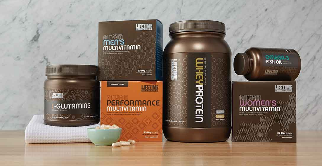 A selection of Life Time's nutritional supplements