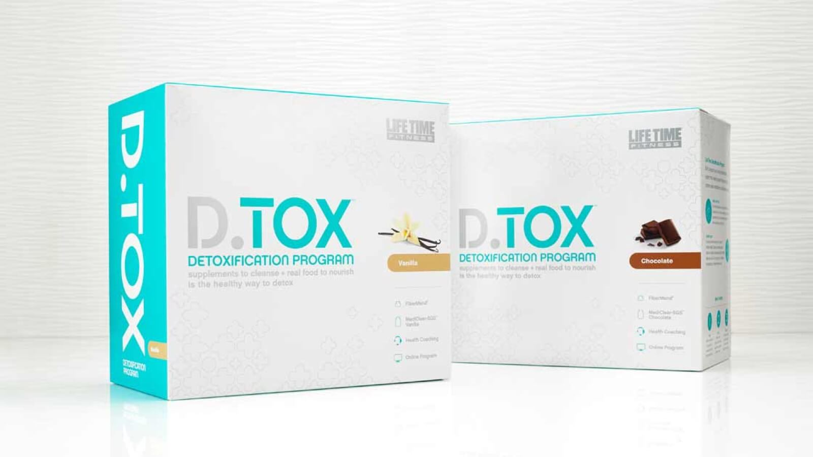 Two boxes of D.TOX products, representing vanilla and chocolate flavors