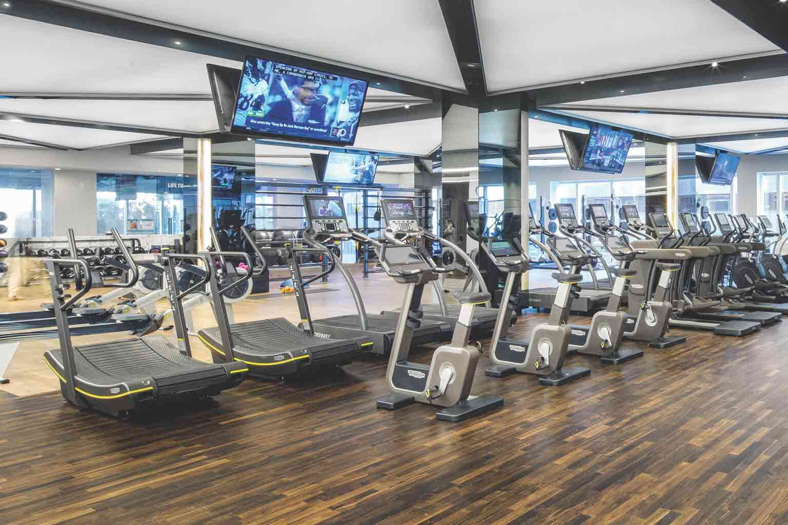 an image depicting life time's wide variety of cardio machines