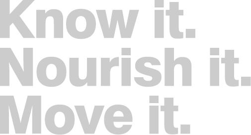 "A logo that says ""Know it. Nourish It. Move it."""