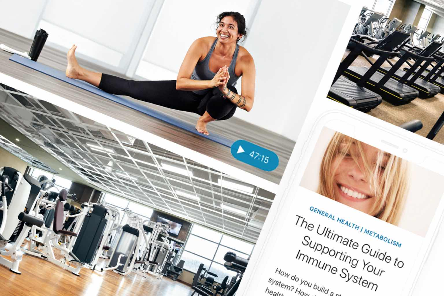 Multiple phone screens with on-demand and at-home workouts from Life Time.