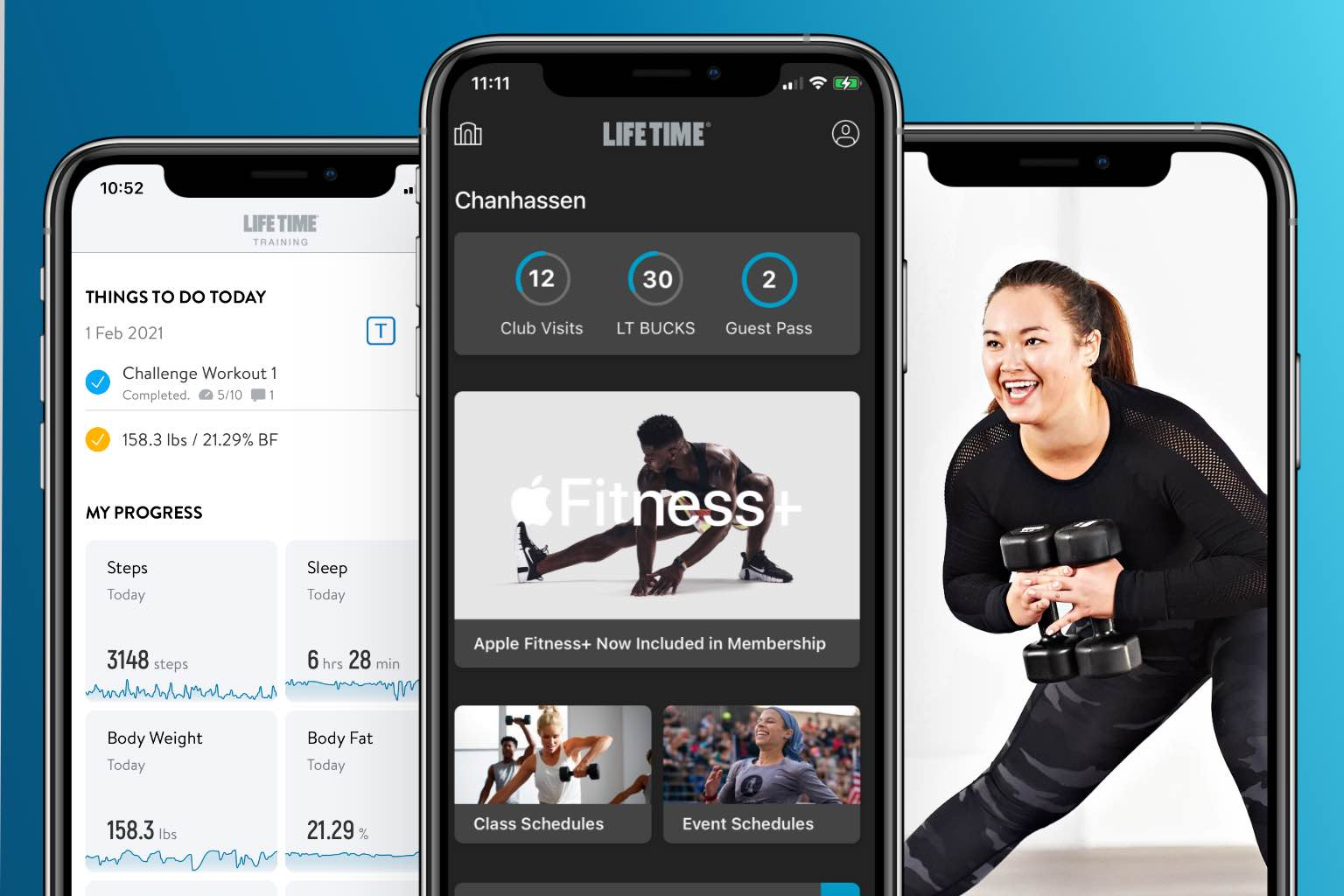 A phone screen displays a smiling woman in exercise gear working out with dumbbells