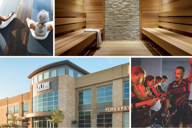 A collage of images depicting the best of Life Time. The exterior of the club, an indoor cycle class, inside a sauna, and 2 women participating in a yoga class.