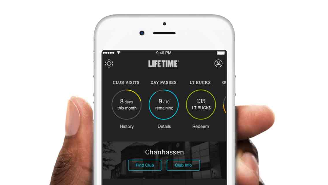 The Life Time App shown on an Iphone