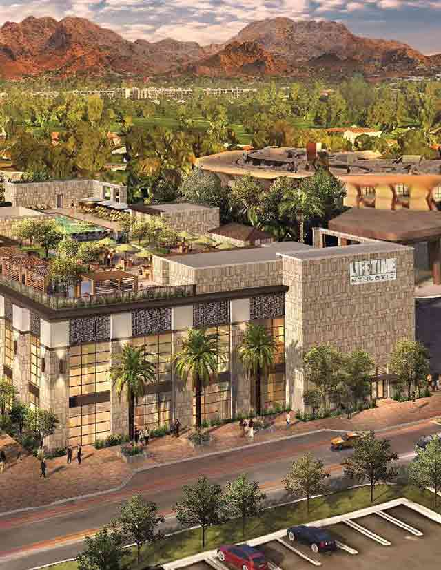 An aerial rendering of the Life Time Athletic building coming to Biltmore, Arizona