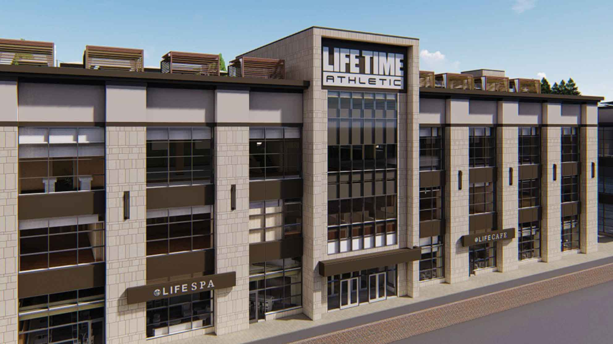 An aerial rendering of the Life Time Athletic building coming to Oakbrook, Illinois