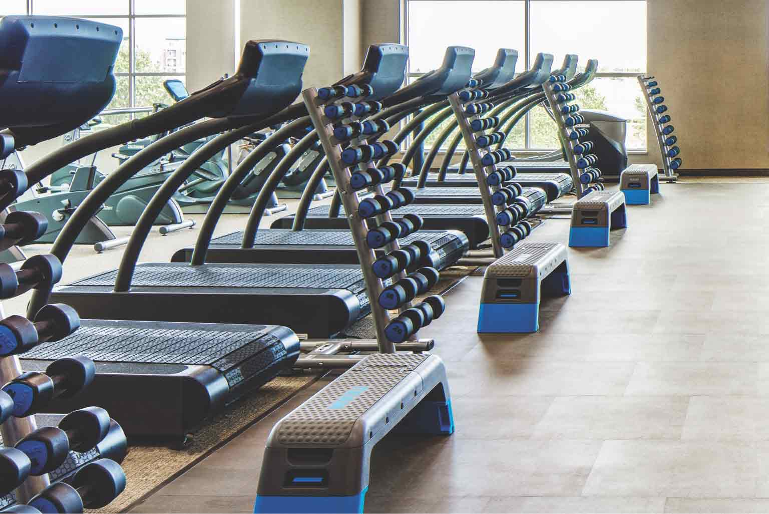 A photo of an indoor studio lined with two rows of treadmills and weight racks