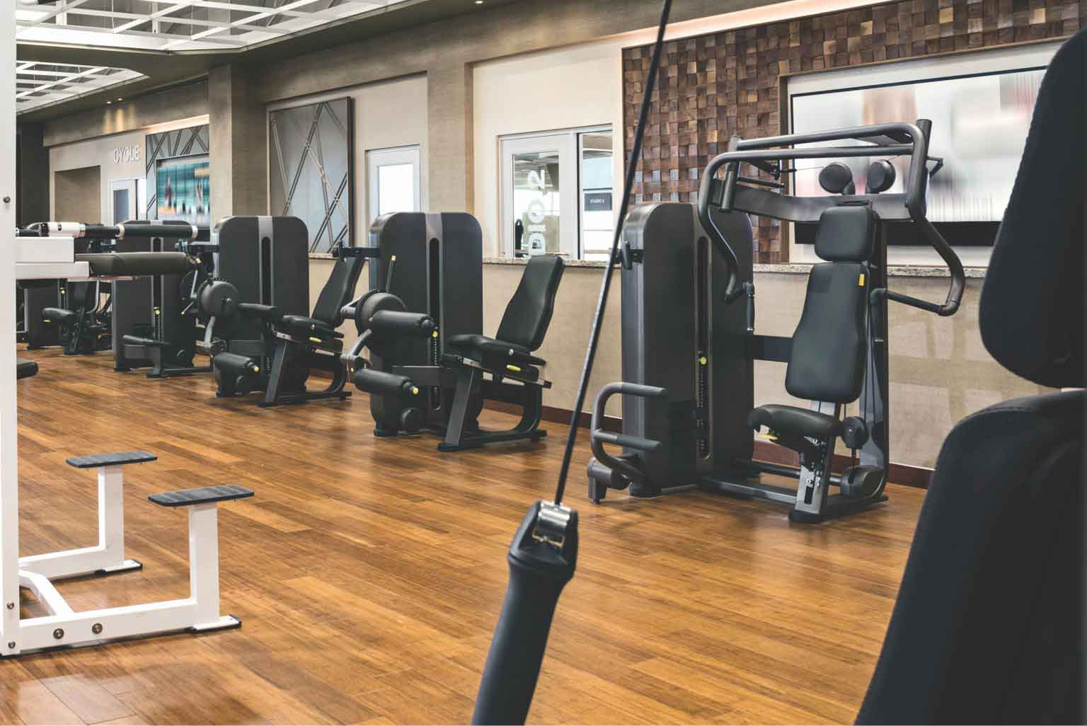 Weight machines on fitness floor