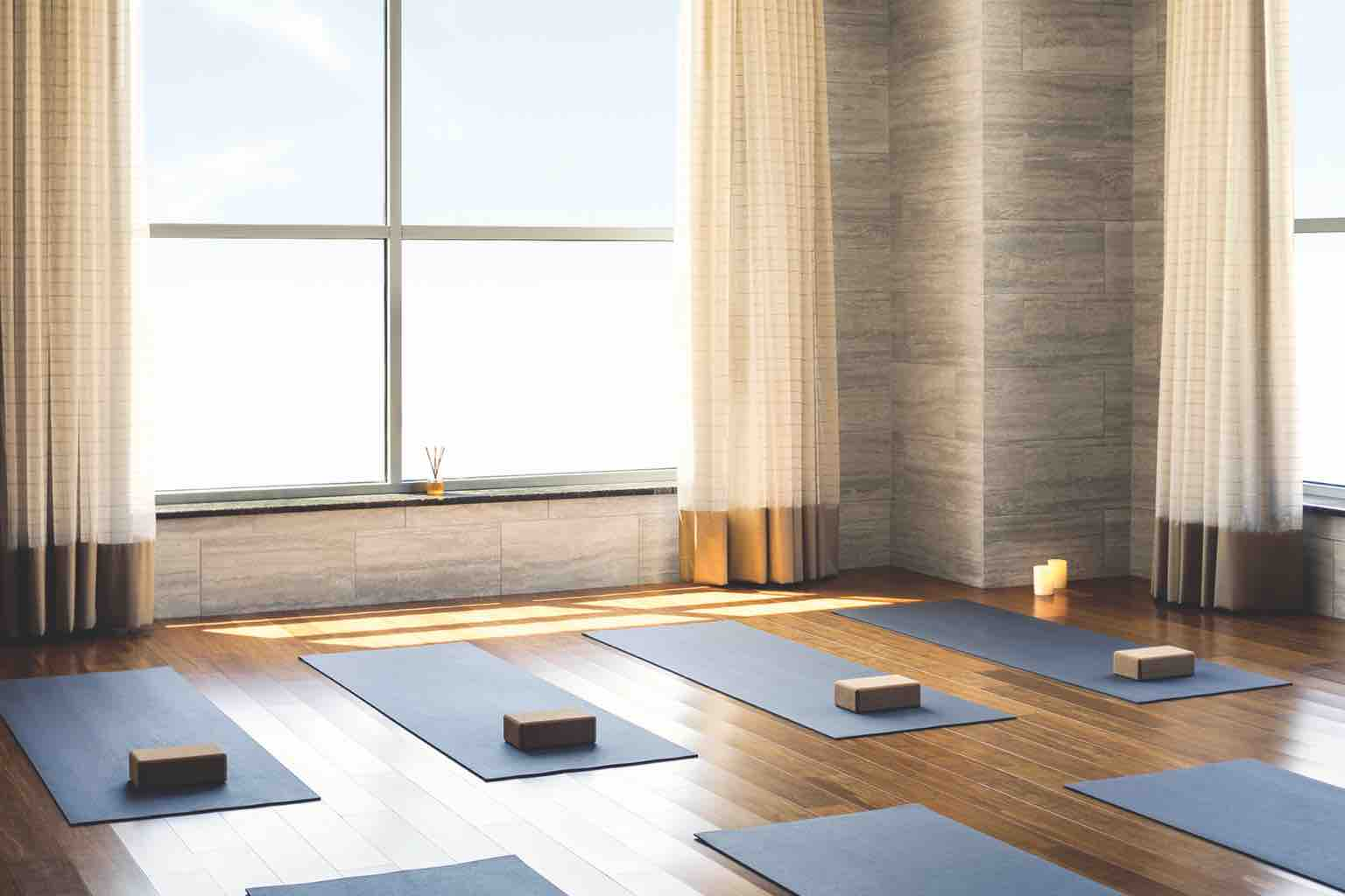 Blue yoga mats, each equipped with a yoga brick, lined up on the wood floor of a light-filled studio