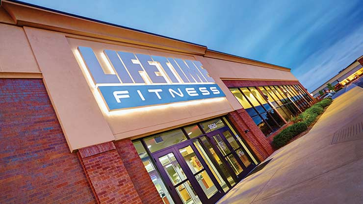 The entrance of Life Time Fitness North Meridian, the premier fitness center near Indianapolis, IN