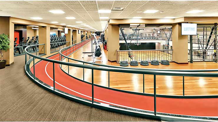 The indoor track in the Target Center Life Time Athletic, a premier gym in downtown Minneapolis, MN
