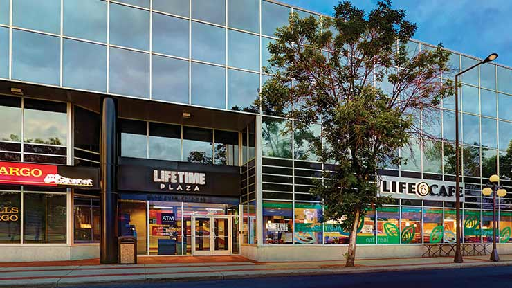 The entrance to Life Time Fitness, the best health club in St. Paul, MN