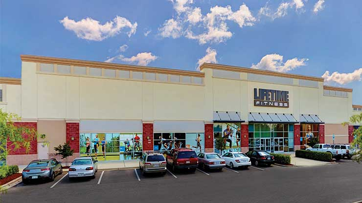 The outisde of Life Time Fitness Plantation Point, the best fitness center in Raleigh, NC