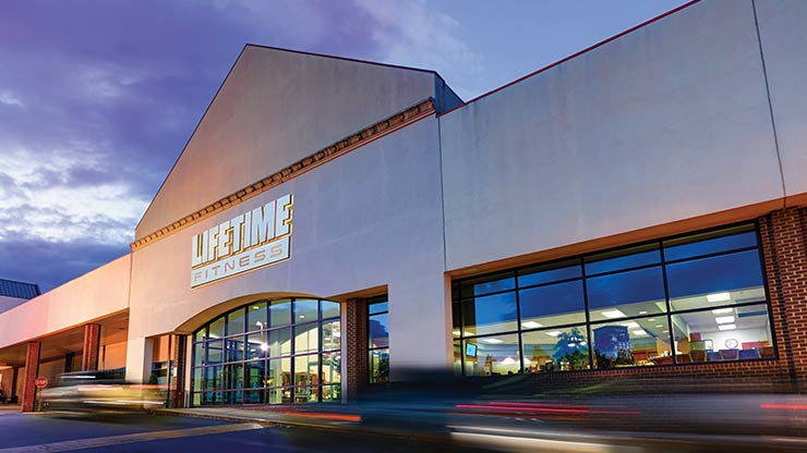The entrance to the Life Time Athletic, the premier athletic club in Fairfax, VA