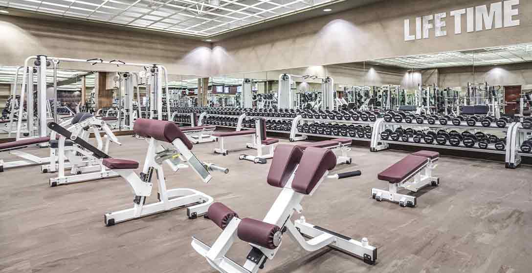 Weight lifting equipment on the Fitness Floor at Life Time