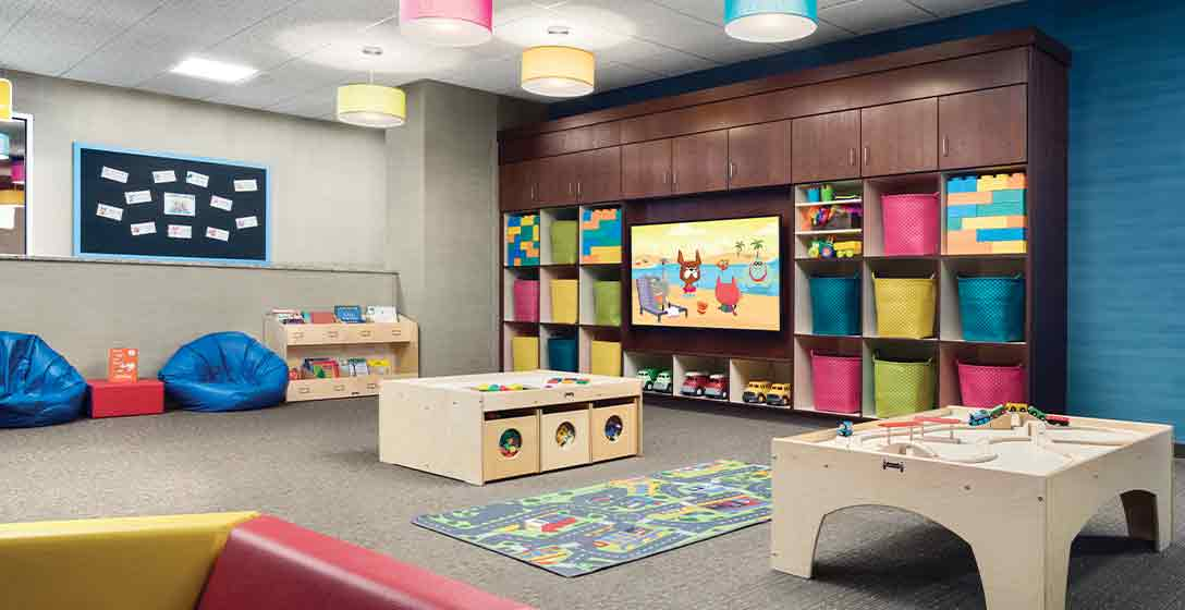 Colorful kids toys and activities inside a Life Time Child Center