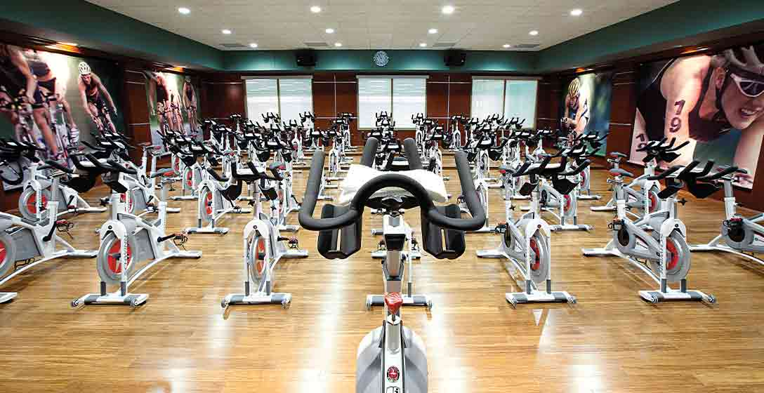 The Indoor Cycle Studio at Life Time