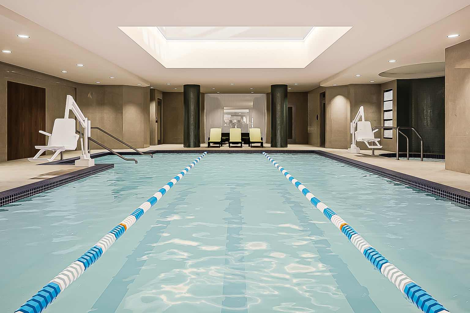 The luxurious indoor lap pool at Life Time 23rd Street.