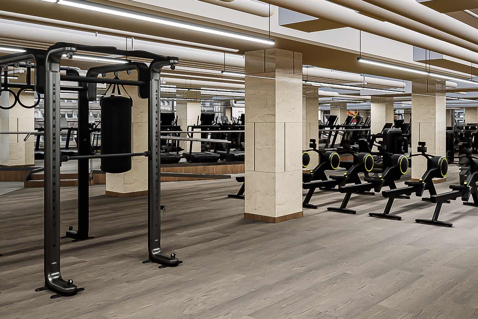 The ample fitness floor clocks in at over 37,000 square feet.
