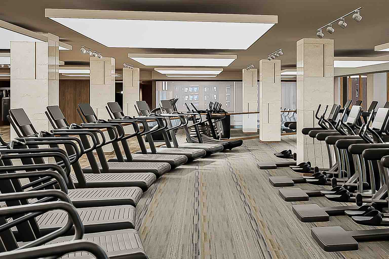 The fitness floor features all the latest and greatest functional training equipment.