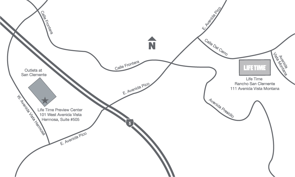 Illustrated map showing the location of the future location of Life Time Rancho San Clemente