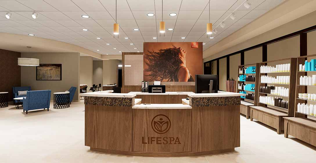 The enterance and welcome desk at the Life Spa