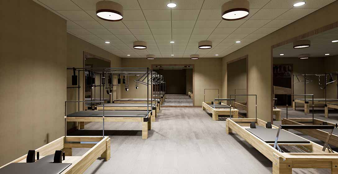 The Pilates studio with reformers