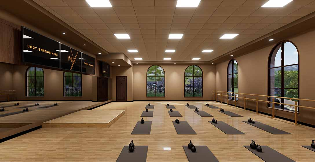 The yoga studio with yoga mats laid out