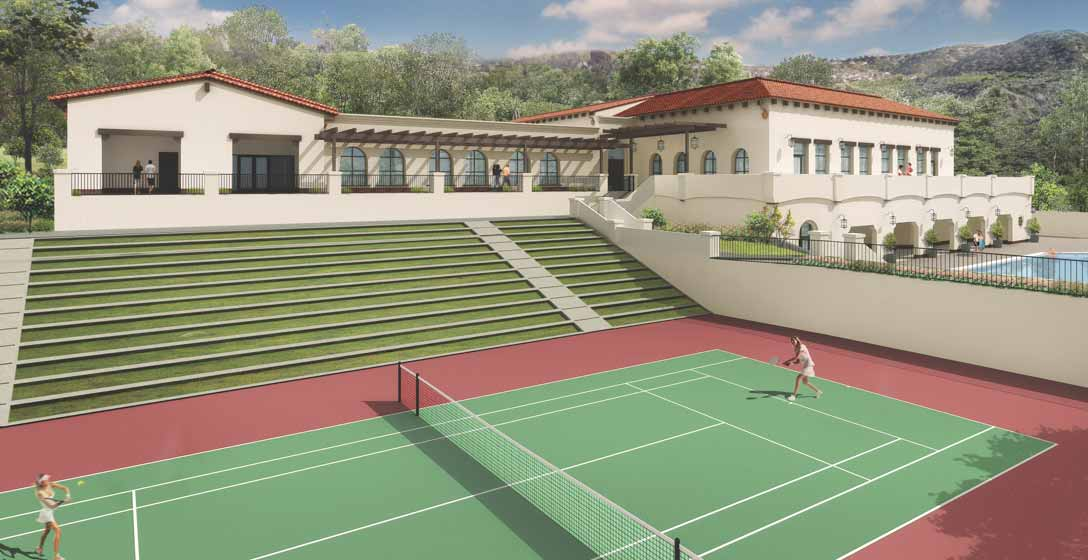 A view of outdoor tennis courts at Rancho San Clemente Life Time