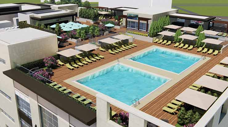 rendering of rooftop pools at Life Time Palm Valley