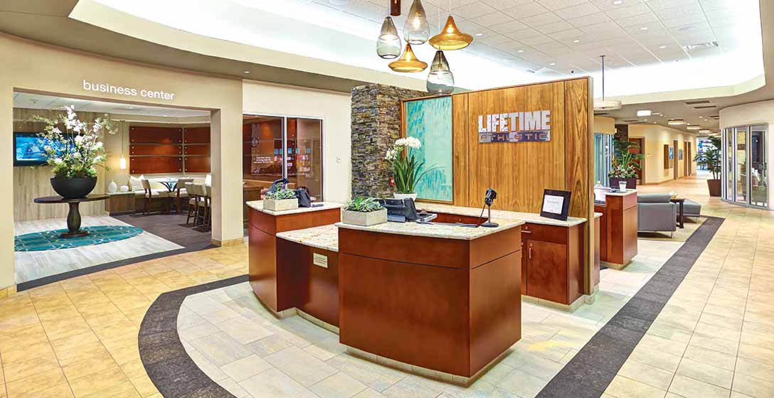 The welcome desk and lobby at Life Time Tampa