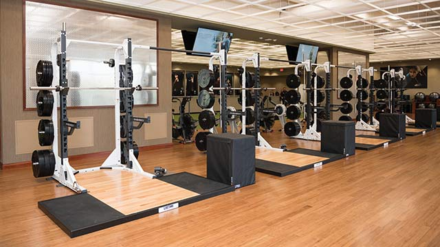 A fitness floor with new treadmills, elliptical machines and other cardio equipment