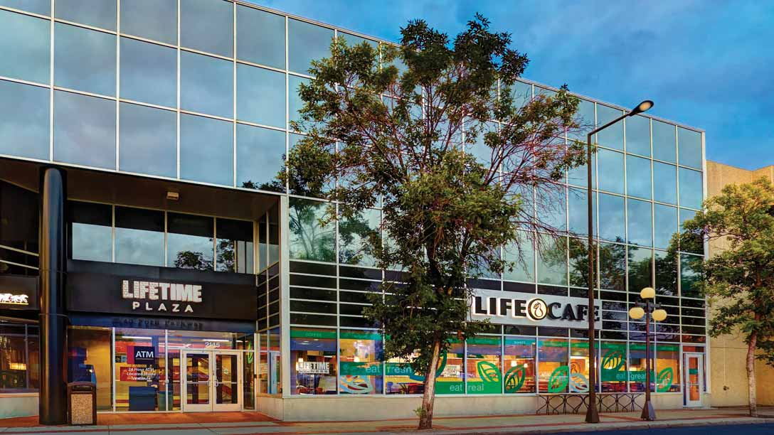 The exterior of a Life Time facility, a destination health club and spa