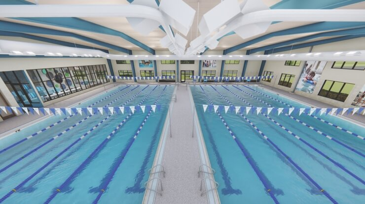 An overhead look of the interior of the new swim facility in Maple Grove.