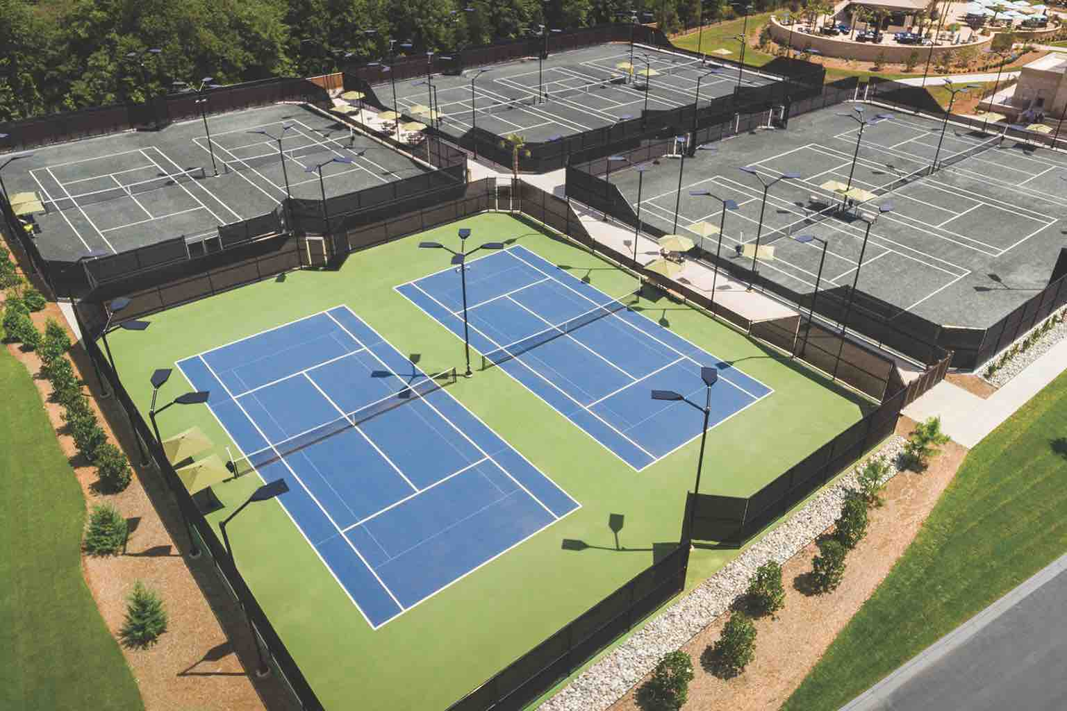 Ten adjoining outdoor tennis courts at Life Time in Charlotte, North Carolina