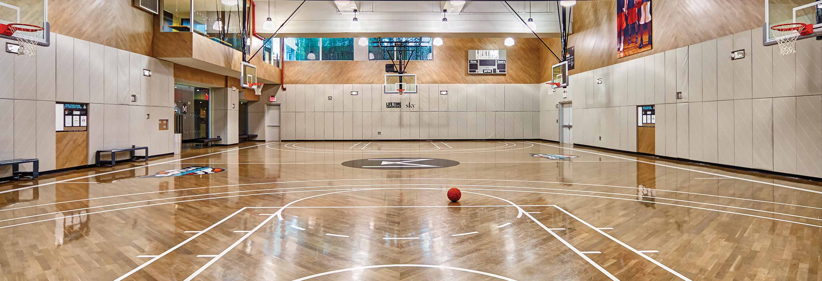 The basketball court at Life Time Athletic Sky