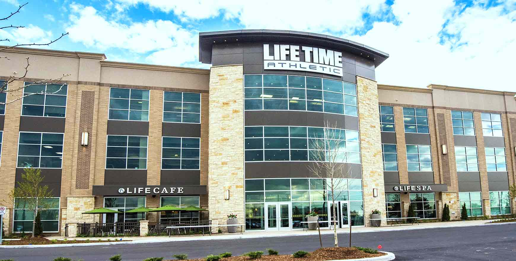 The exterior of the Life Time Athletic club in Vaughan, ON