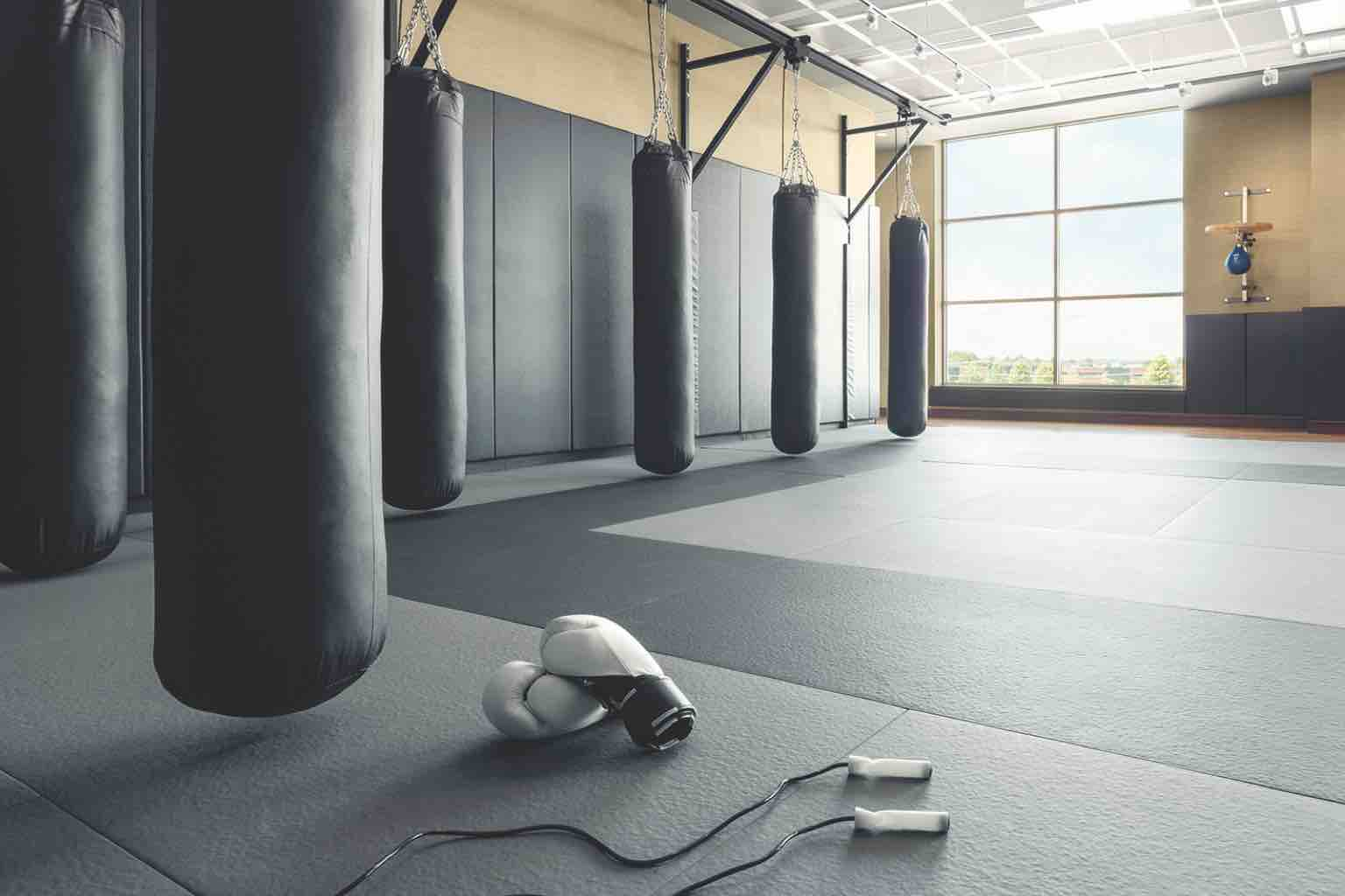 Designed for boxing, this sunlit gym space has padded walls and contains several heavy bags