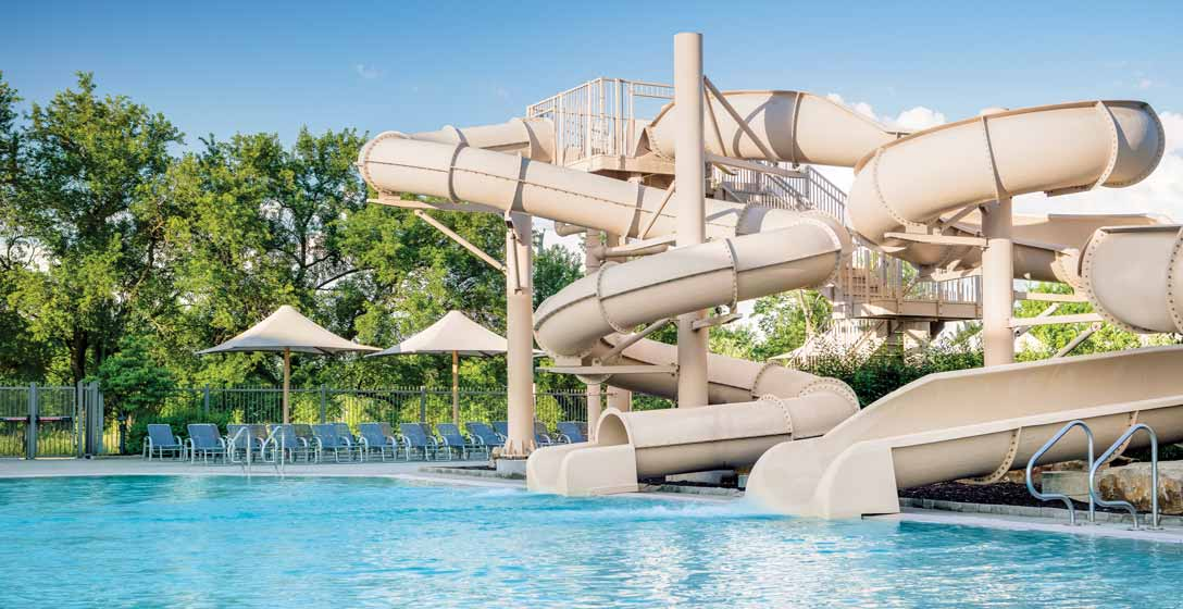 The outdoor pool and slides
