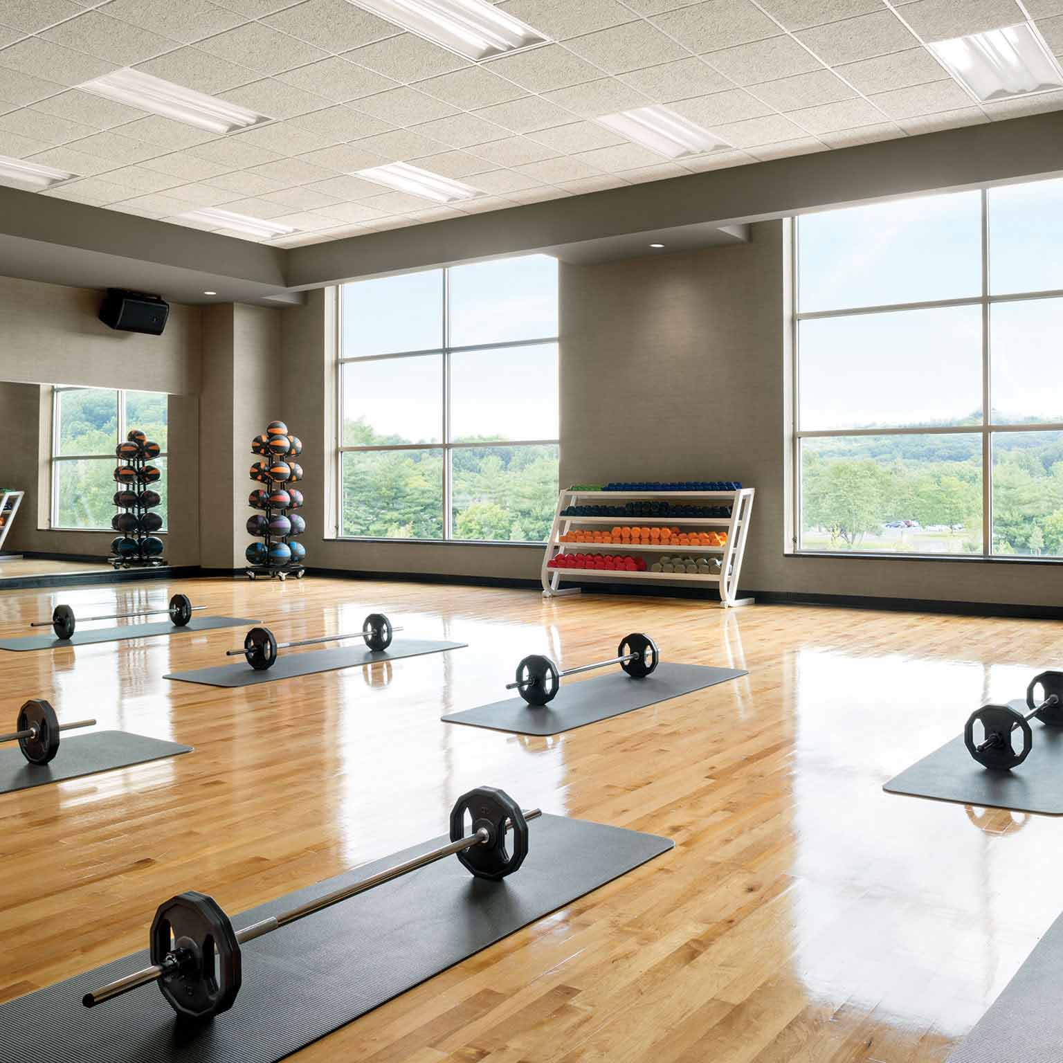 Image of an expansive studio with mats laid out six feet apart, and barbells set on top of each one.