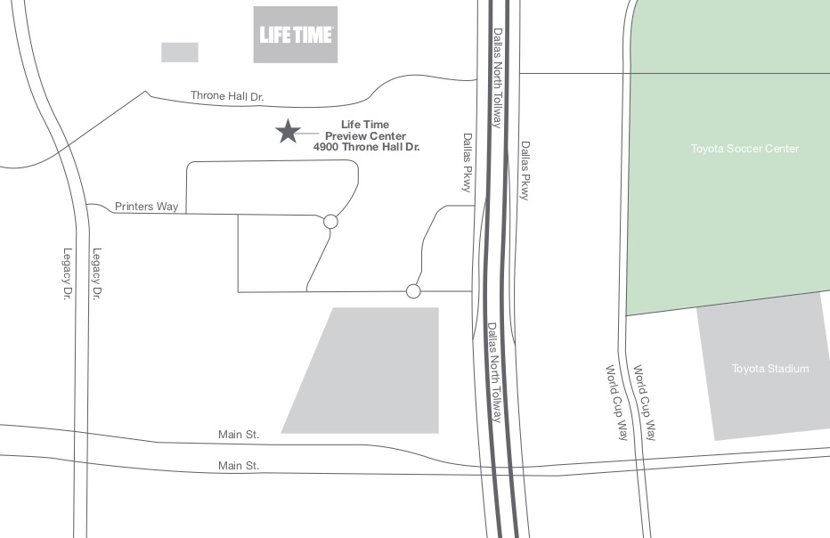 Illustrated map of the preview center and future club location of Life Time in Frisco, TX
