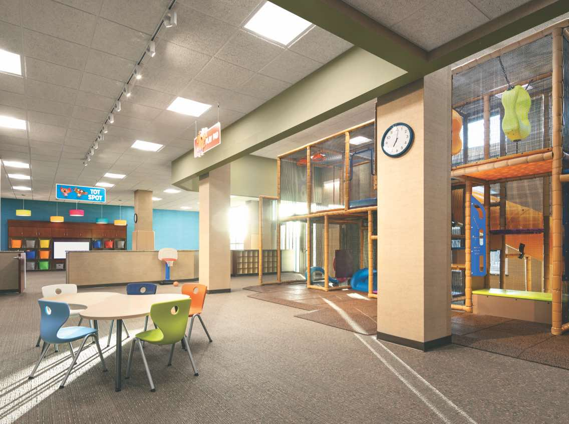 Child Center at Life Time with indoor playground, toys, table and chairs